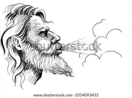 Ink Black White Illustration Blowing God Stock Illustration