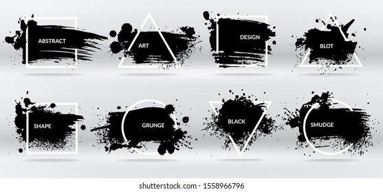 Ink blots. Abstract shapes, frames with black brushstroke grunge texture. Isolated border on inkblot set