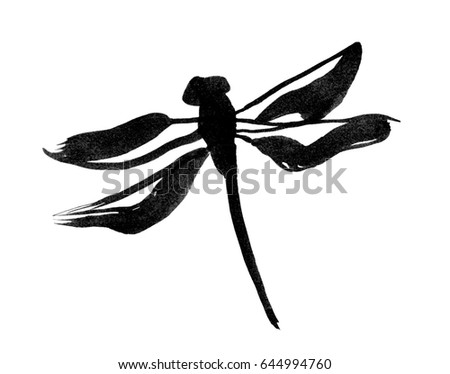 Ink Dragonfly Traditional Japanese Ink Painting Stock Illustration