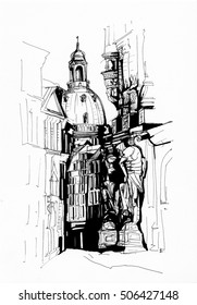 Ink drawing of Dresden cityscape with ancient architecture