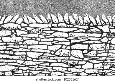 Ink drawing of a dry stone wall in black and white
