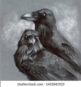ink drawing of a family of ravens quarreling periodically.