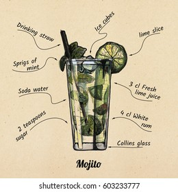 ink drawing and watercolor illustration of cocktail mojito and its ingredients. On old paper background.
