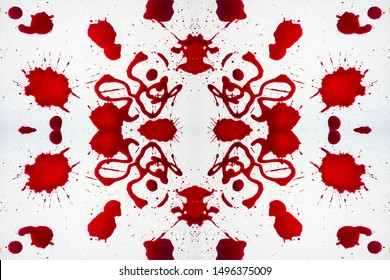 Ink Endless Spray. Red and White color Stains. Burgundy splatter. Contrast Ink Seamless Pigment. Red and white Rorschach print Watercolor paint. Blood Blots on Snow.