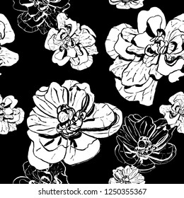 Ink hand drawn black and white flowers seamless pattern. Design for bacgrounds, wallpappers, wrapping papper, textile, covers and packaging.