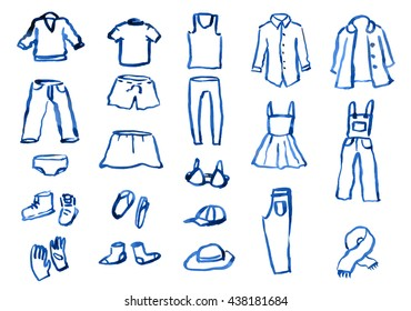 Ink hand drawn clothes set with shirt, skirt, pants, shoes, hats etc. Blue inky lines different thickness and darkness.