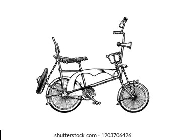 Ink hand drawn illustration of Lowrider bicycle in vintage engraved style.  Wheelie bike with banana seat with sissy bar, ape hanger and overspoked wheels.