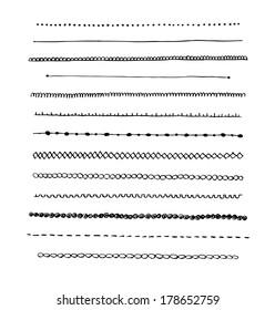 Ink hand-drawn line border set and scribble design element.