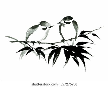 Ink illustration of two little birds sitting on the bamboo branch. Sumi-e, u-sin, guohua painting style. Silhouette made up of black brush strokes isolated on white background.