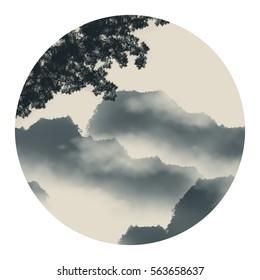 Ink landscape painting
