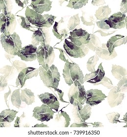 ink leaves seamless pattern. abstract hand drawn picture. artwork for textiles, fabrics, souvenirs, packaging and greeting cards.