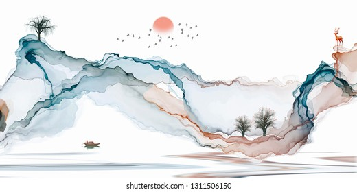 Ink painting, artistic landscape, freehand lines, abstract decorative background