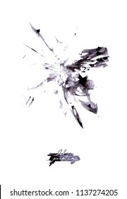 Ink painting. Ink stains, isolated on white background. Paint wash.