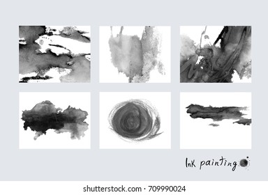 Ink painting. Ink stains,isolated on a white background. Paint splash.