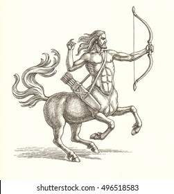 Ink and pen drawing, centaur archer on white background.