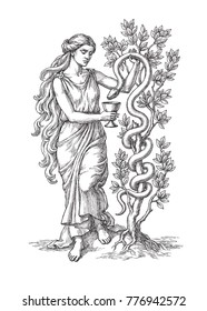 Ink and pen drawing, the goddess of medicine Hygieia with bowl and snake, on white background.