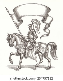 Ink and pen drawing, knight on a horse with a flag.