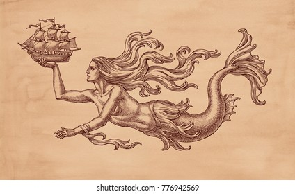 Ink and pen drawing, swimming mermaid and sailing ship, allegory of the sea, on brown old paper background.