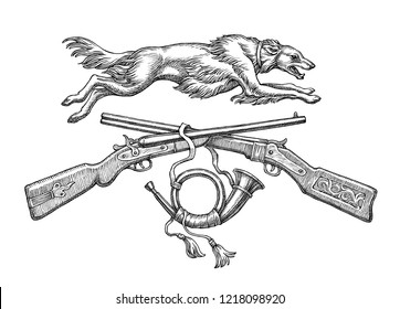 Ink and pen hand drawn illustration, hunting guns, horn and hunting dog on white
