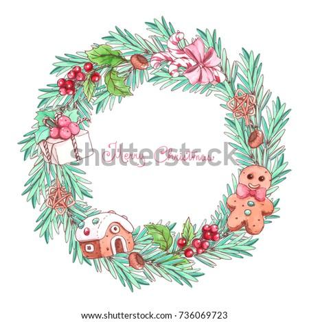 Ink Pencil Watercolor Christmas Wreath Sketch Transparent Stock