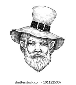 Ink portrait of a leprechaun for St.Patrick 's Day. A man with a beard.