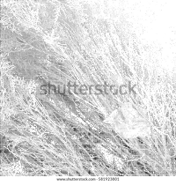 Ink Print Distress Background . Halftone Dots Grunge Texture. Black and white illustration.