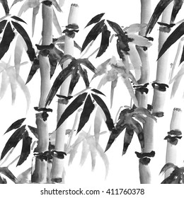 ink seamless pattern with bamboo in the Japanese style on a white background
