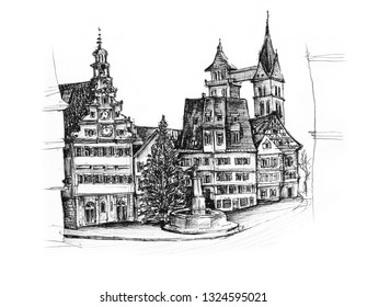 Ink sketch of Esslingen Marktplatz Stuttgart Germany