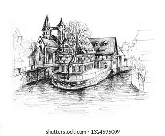 Ink sketch of Esslingen Stuttgart Germany