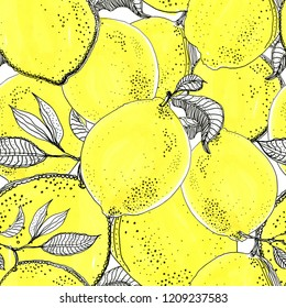 Ink sketch lemons. Seamless drawing background. Citrus fruit background. Elements for menu, greeting cards, wrapping paper, cosmetics packaging, posters etc