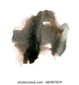 ink splatter watercolour dye liquid black brown watercolor macro spot blotch texture isolated on white
