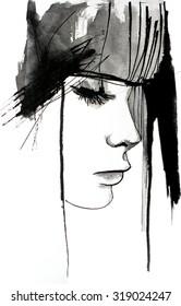 ink wash illustration of beautiful girl | handmade | self made | drawing