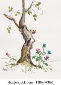 Ink wash painting,butterfly and flowers near  tree