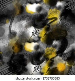 Ink wash, seamless pattern with big abstract stains and blots. Mix of black and yellow watercolor paint with pencil scribble lines and hand marks. Trendy textile muddy artistic texture