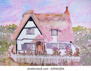Ink and Watercolor painting of thatched  cottage