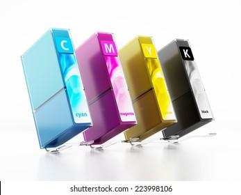 Inkjet printer cartridges isolated on white.