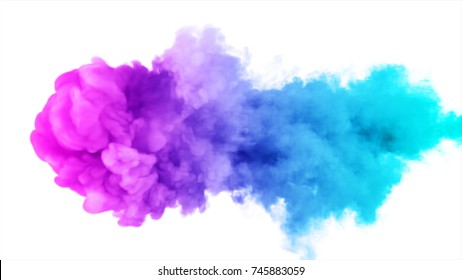 Inky colorful cloud moves in slow motion under the water 3d illustration