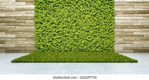 Inner courtyard with green fresh vertical garden. 3D illustration.