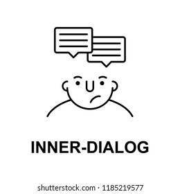 inner dialog on mind icon. Element of human mind icon for mobile concept and web apps. Thin line inner dialog on mind icon can be used for web and mobile on white background