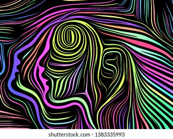 Inner Geometry series. Arrangement of human face rendered in traditional woodcut style on the subject of human soul, internal drama, art, poetry and spirituality