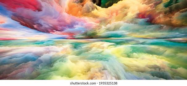 Tierra interior. Viendo series de Never World. Composición de colores, texturas y nubes degradadas como metáfora de la vida interior, el drama, la poesía, el arte y el diseño