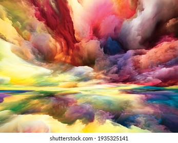 Inner Land. Seeing Never World series. Composition of colors, textures and gradient clouds as a metaphor for inner life, drama, poetry, art and design