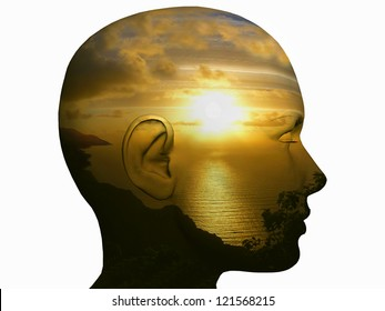 inner light, human head in profile with sunset inside