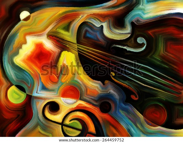 Inner Melody series. Interplay of colorful human and musical shapes on the subject of spirituality of music and performing arts
