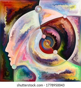 Inner Spiral series. Arrangement of human face outlines and geometric structures on the subject of the mind, soul, inner world, and consciousness.