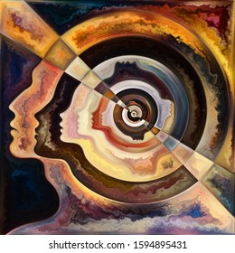 Inner Spiral series. Painting of human face outlines and geometric structures on the subject of the mind, soul, inner world, and consciousness.