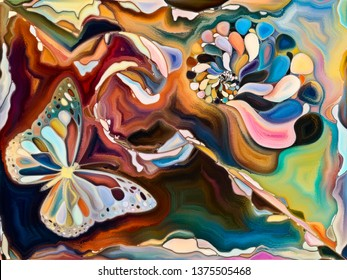 Inner Texture series. Arrangement of digital watercolor design with seashells and butterflies on the subject of art, Nature and creativity