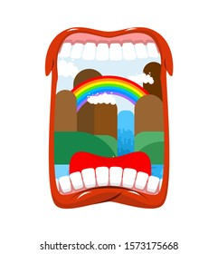 Inner world. Landscape in open mouth. country Nature in oral cavity.