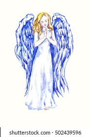 Innocent beautiful angel praying, hand painted watercolor illustration