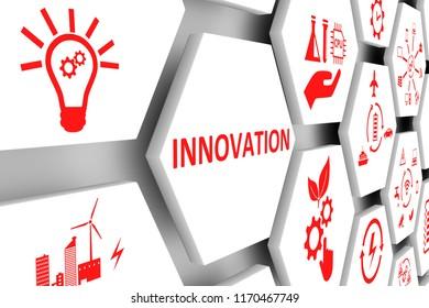 INNOVATION concept cell background 3d illustration